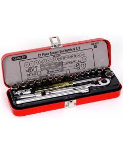 Stanley - 21 Piece Combo AF & Metric Socket Set - S/S/red