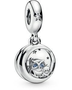 Pandora Always by Your Side Owl Silver Hanging Charm Silver - 798398NBCB