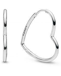Pandora Asymmetric Hearts of Love Silver Hoops Silver - 297822