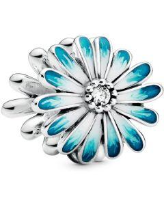 Pandora Blue Daisy Flower Charm w White & Blue Enamel & CZ Silver - 798775C01