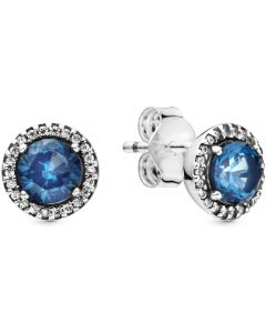 Pandora Blue Round Sparkle Silver Earring Studs w Blue Crystal Silver - 296272C01