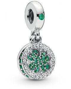 Pandora Dazzling Clover Silver Hanging Charm w Green Crystals & Clear CZ Silver - 797906NRGMX