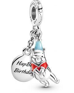 Pandora Disney, Winnie the Pooh Birthday Hanging Silver Charm w Red & Blue Enamel Silver - 799385C01