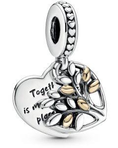 Pandora Family Tree Hanging Silver Charm w 14k Gold Two Tone - 799161C00
