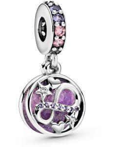 Pandora Glittering Infinity Hearts & Stars Silver Hanging Charm Pink Crystal, Mixed Enamel & CZ Silver - 798829C01