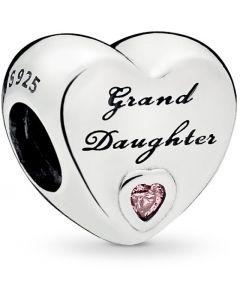 Pandora Granddaughter's Love Silver Charm w Pink CZ Silver - 796261PCZ