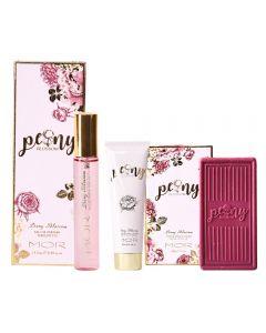 MOR Peony Blossom Hand & Nail Cream 125ml, Triple-Milled Soap 180g and Esau De Parfum Perfumette 14.5ml Set