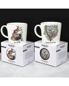 Squidinki Set of 2 Porcelain Mugs: Koalas/Wombat & Rock Wallaby/Platypus