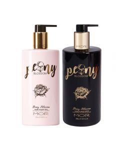 MOR Peony Blossom Hand & Body Milk 500ml and Hand & Body Wash 500ml Set