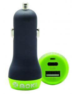 Moki Car Charger + (Type C + USB) 3.0 RapidCharge - Black