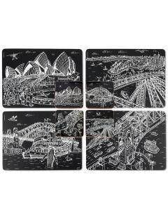 Squidinki Placemats:& Coasters Set Sydney (Black & White)
