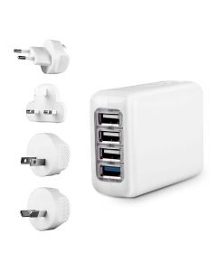 Travel Blue 4 Port USB Travel Charger